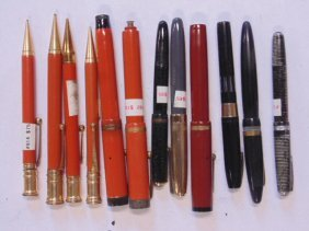 Lot of 12 various fountain pens & pens