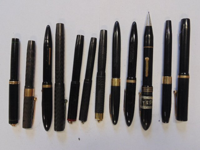 Lot of 12 black pens & fountain pens