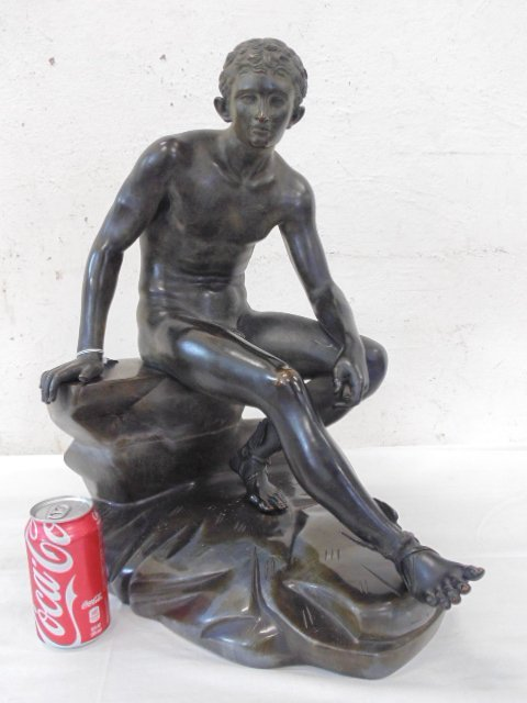 19th c. grand tour bronze, Mercury on stone base