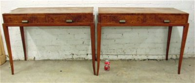 Pair Parzinger burl wood 6440 consoles with 2 drawers