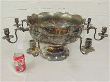 Silver-plate punch bowl with candle holders, marked