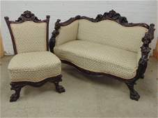 Carved mahogany loveseat & side chair, attr. to Horner