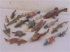 Lot early paint decorated fish lures