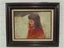 Painting, portrait girl, signed Richard Schmid