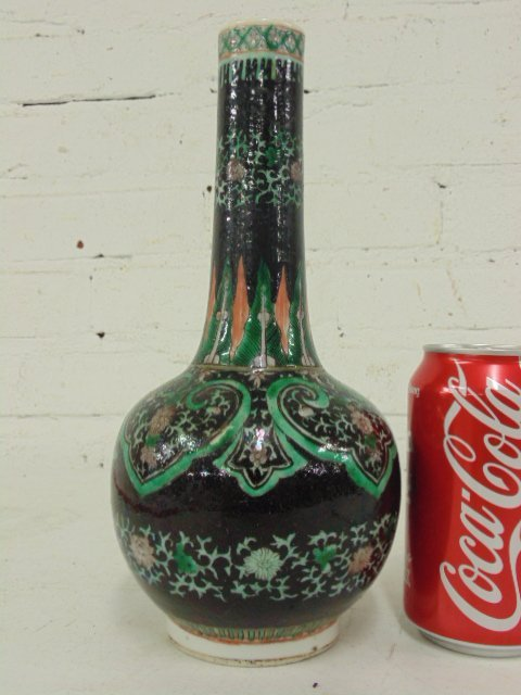 Chinese porcelain vase, black with green decoration