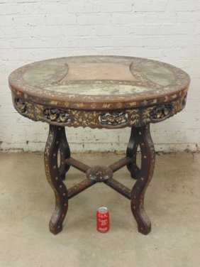 Chinese carved wood center table, mother of pearl,