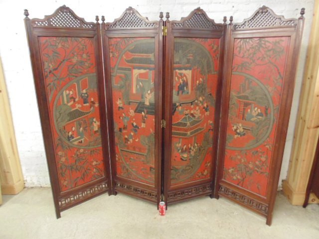 Two sided four panel Chinese screen