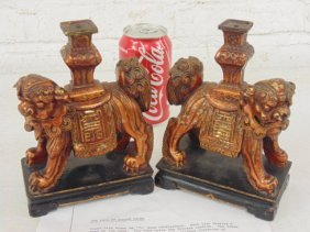Pair gilt wood Fu dog candle bases, Ching Dynasty