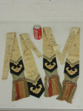 Lot 4 embroidered Asian pieces