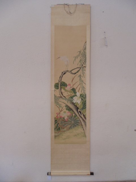 Chinese scroll, Bird on branch, flowers, unsigned