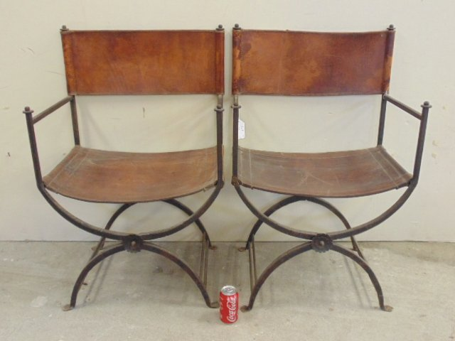 Pair Morgan Colt iron & leather chairs