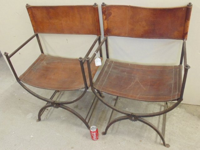 Pair Morgan Colt iron & leather chairs - 2