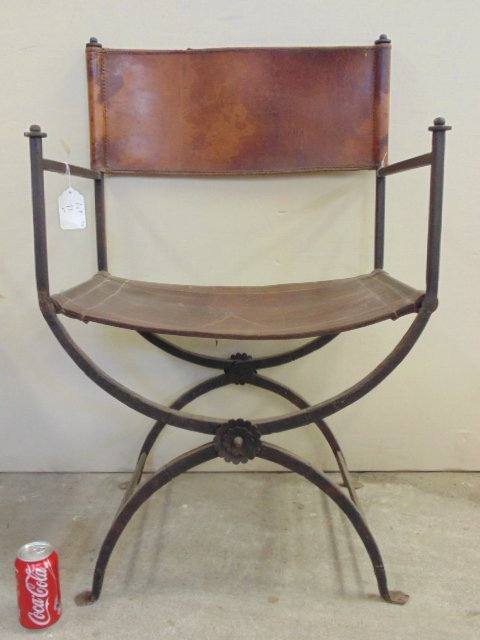 Pair Morgan Colt iron & leather chairs - 5