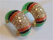 Van Cleef & Arpels 18k coral, onyx & diamond earrings