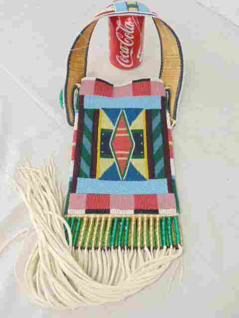 Fully beaded American Indian pouch