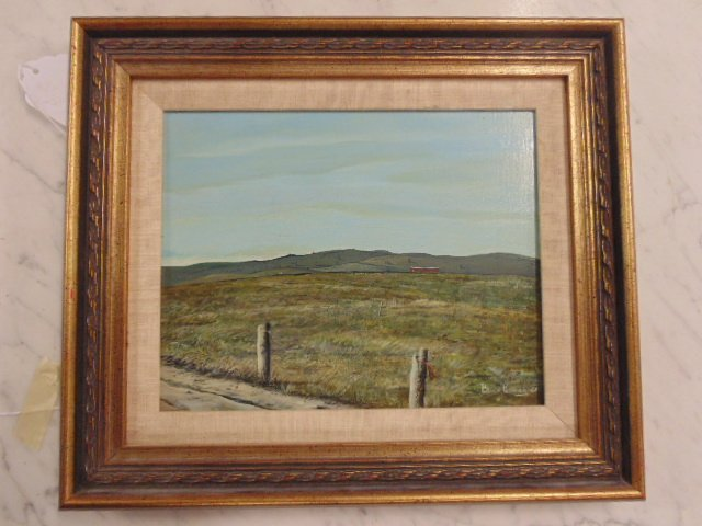Painting, landscape with fence posts, Bruce Penney