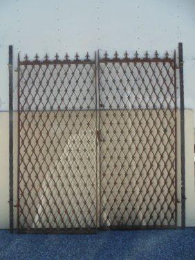 Pair decorative iron gates