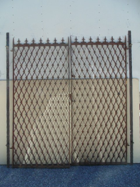 Pair decorative iron gates