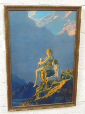 "Maxfield Parrish print, ""Contentment"""