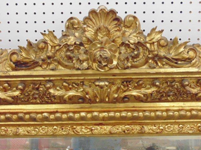 Large ornately carved & gilt beveled mirror - 4