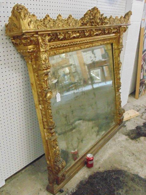 Large ornately carved & gilt beveled mirror - 5