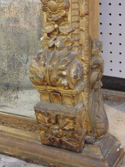 Large ornately carved & gilt beveled mirror - 8