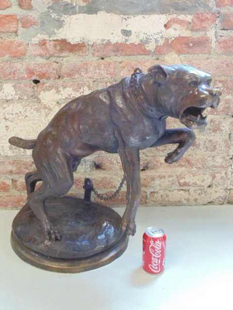 Bronze barking dog on chain, signed Valton