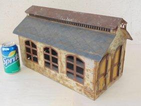 Painted tin train depot, probably Marklin