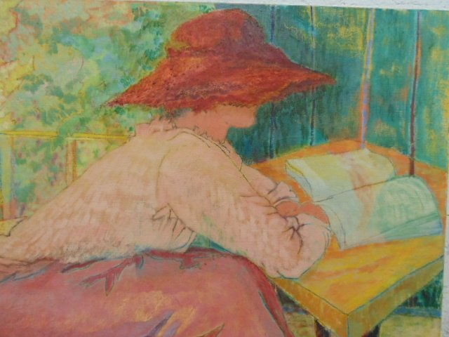 Painting, portrait lady with hat, signed Lillian - 2