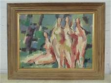 """Painting, """"Figures in Landscape"""", signed Max Arthur"""