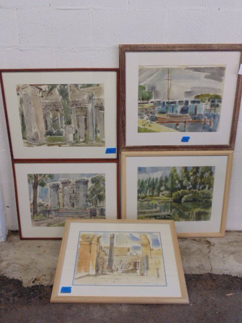 Lot 5 watercolors by Max Arthur Cohn