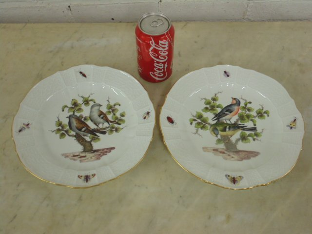 2 Meissen plates, hand painted with birds & insects