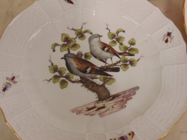 2 Meissen plates, hand painted with birds & insects - 2