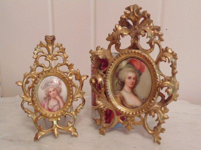 Pair of miniature portraits on porcelain, signed