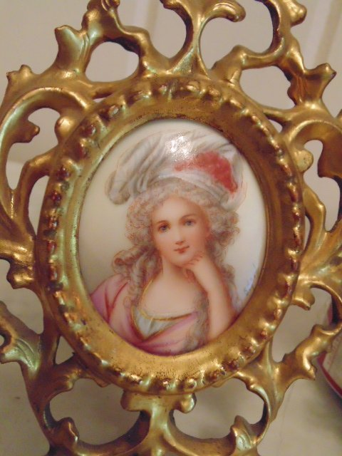 Pair of miniature portraits on porcelain, signed - 2
