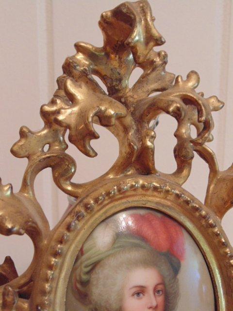 Pair of miniature portraits on porcelain, signed - 4