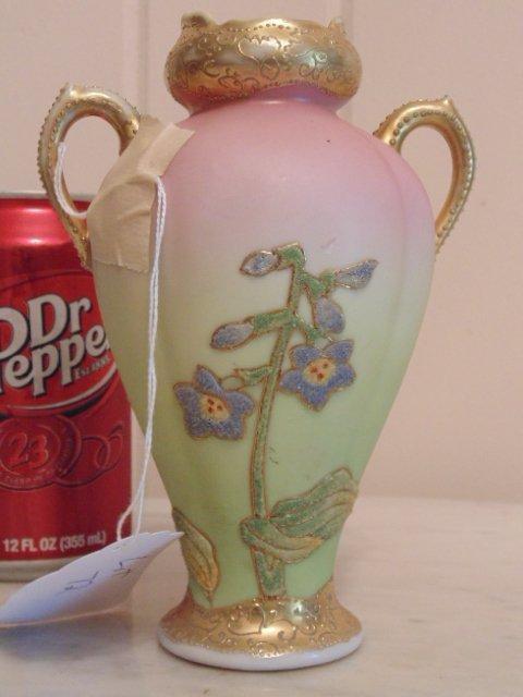 Coralene porcelain vase; gilt and floral decoration - 2