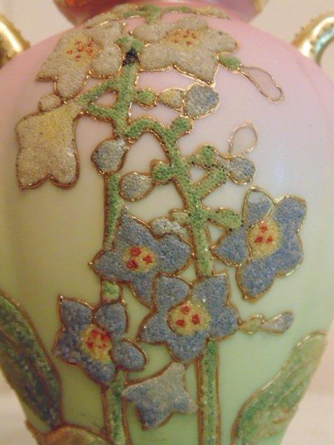 Coralene porcelain vase; gilt and floral decoration - 3