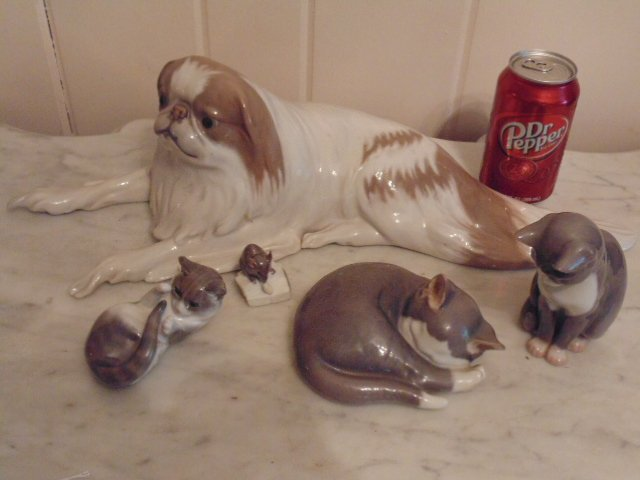 5 Danish porcelain animal figurines, cats,  dog, mouse
