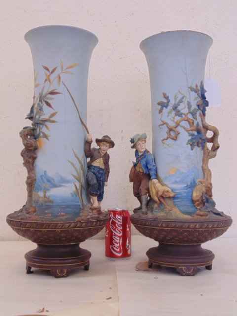 Pair large Mettlach vases