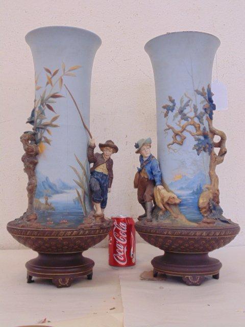 Pair large Mettlach vases