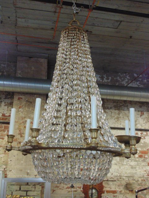Crystal & gilt bronze chandelier