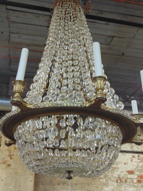 Crystal & gilt bronze chandelier - 2