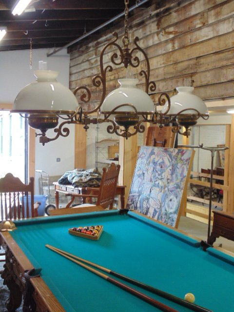 Victorian electrified brass pool table gas fixture - 2