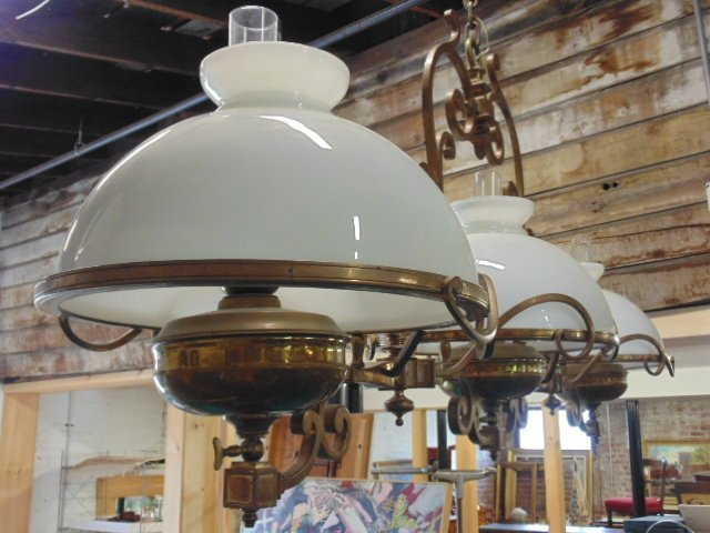 Victorian electrified brass pool table gas fixture - 3