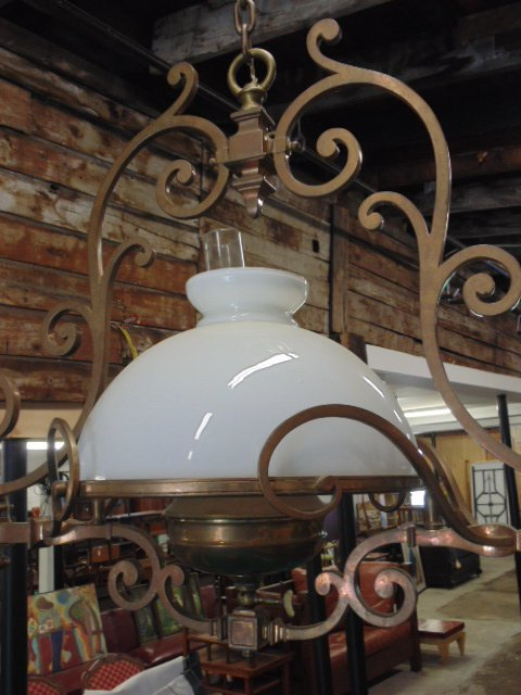 Victorian electrified brass pool table gas fixture - 4
