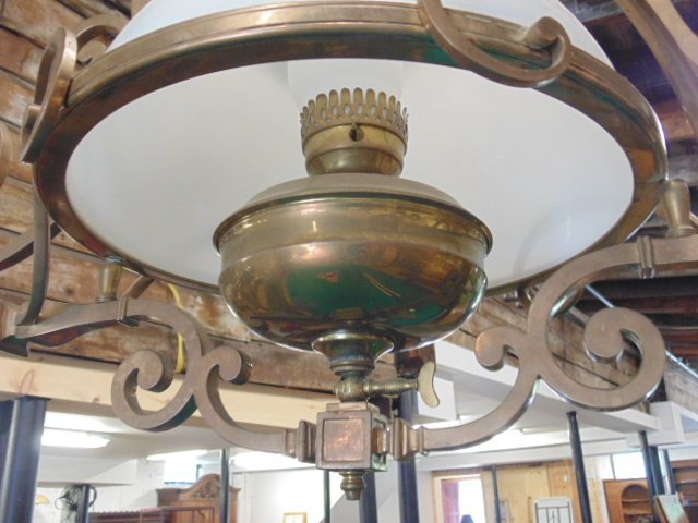 Victorian electrified brass pool table gas fixture - 5