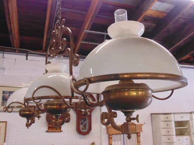 Victorian electrified brass pool table gas fixture - 6