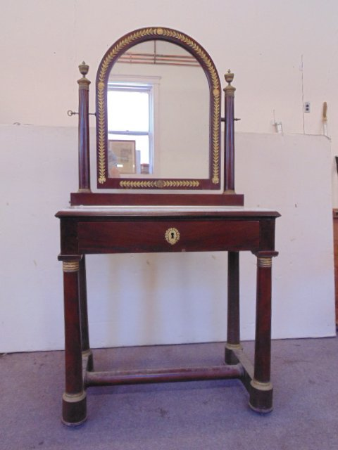 Empire marble top dressing table with mirror