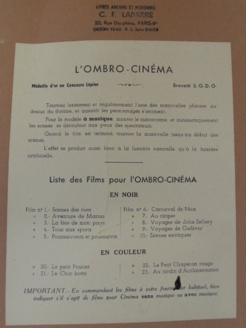 L\'Ombro-Cinéma, 1920. Optical game with 3 rolls - 10